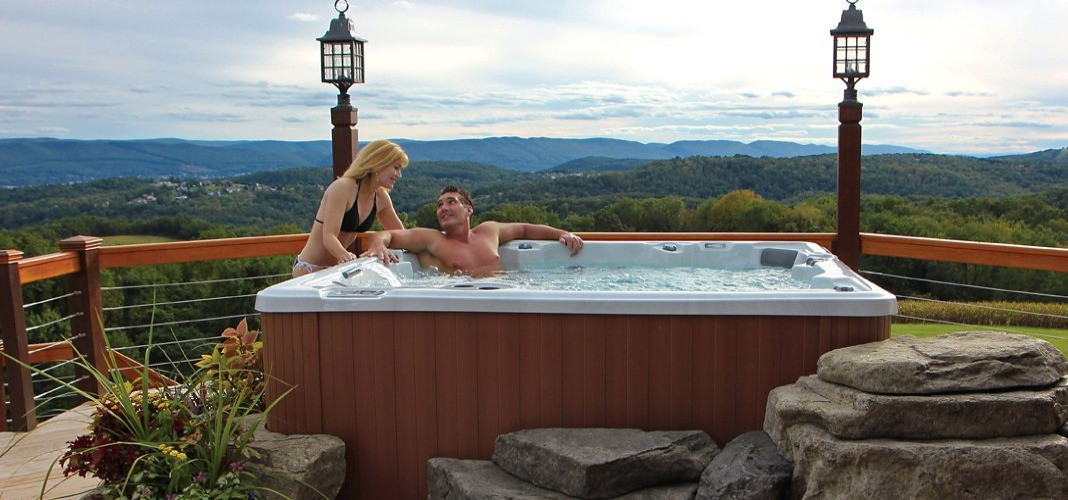 PDC Spas hot tub with a view