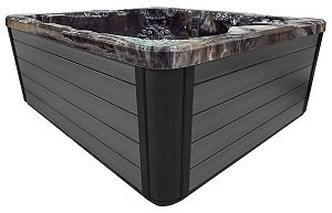 gray hot tub cabinet siding