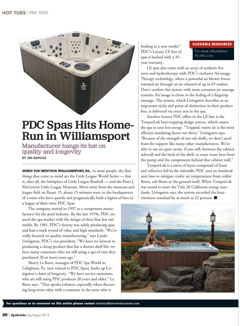 PDC Spas July/August 2015