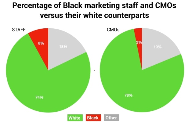 chart compares races of agency employees