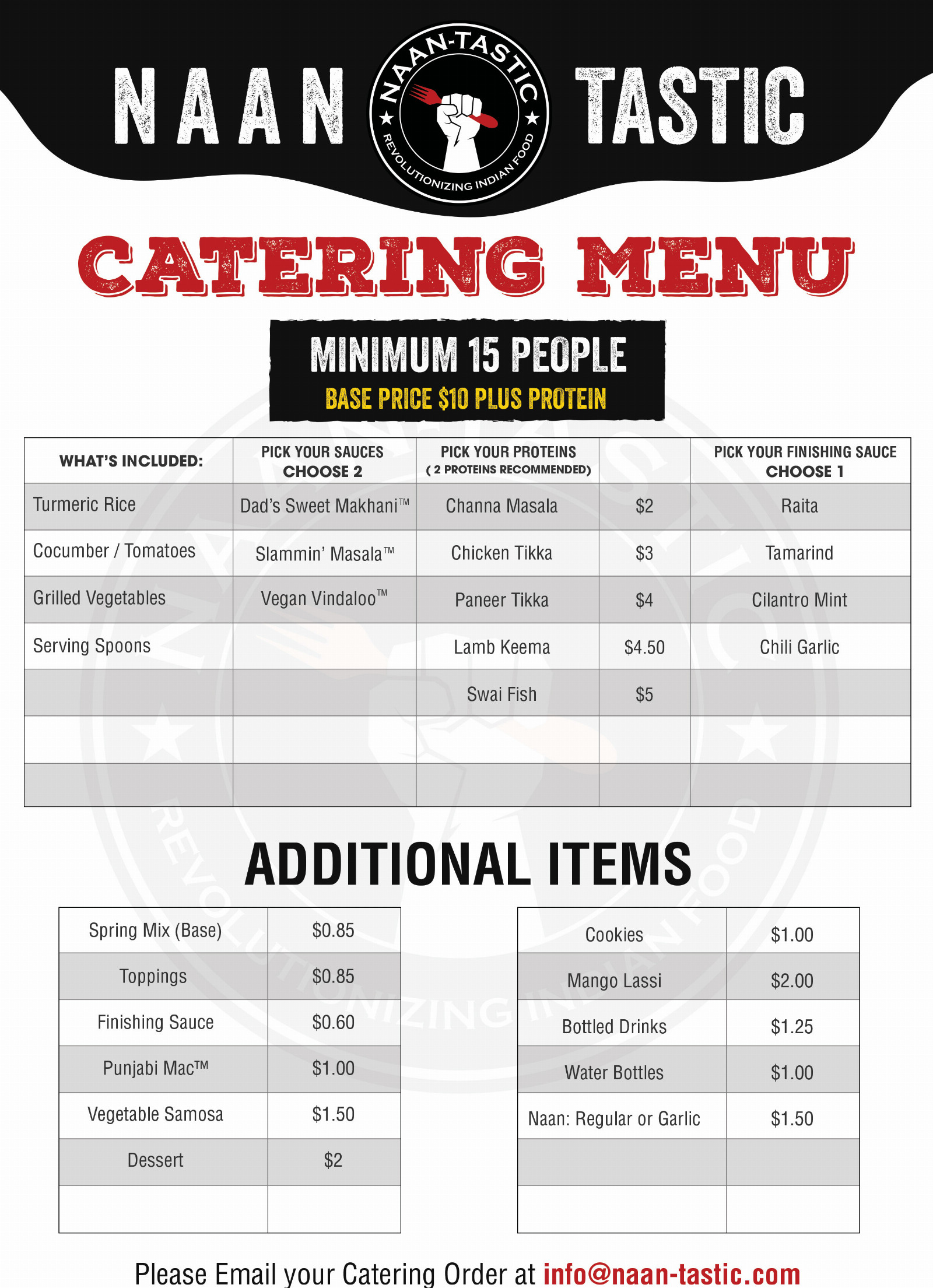Indian Food Catering Menu Rochester NY