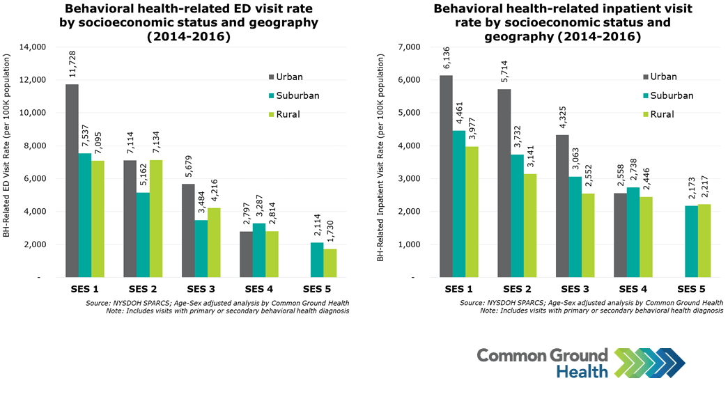 Behavioral Health-Related ED & Inpatient Visit Rate by Socioeconomic Status & Geography
