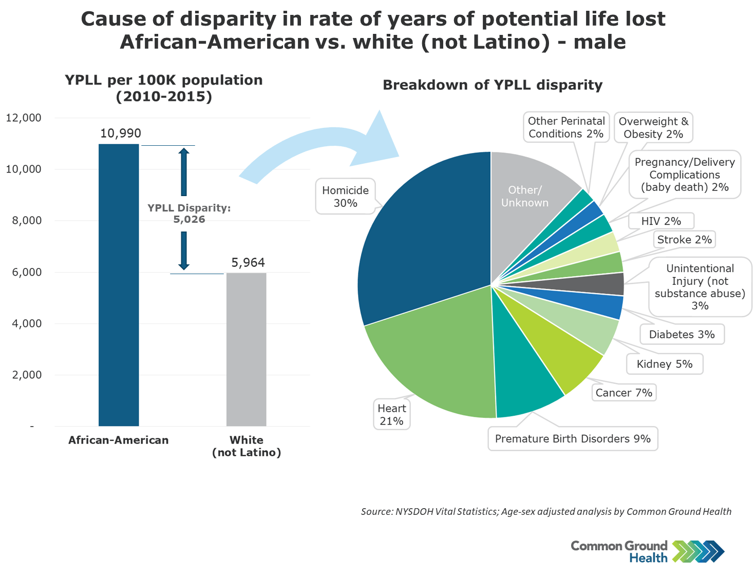 Cause of Disparity in Rate of Years of Potential Life Lost African-American vs White (not Latino) - Male
