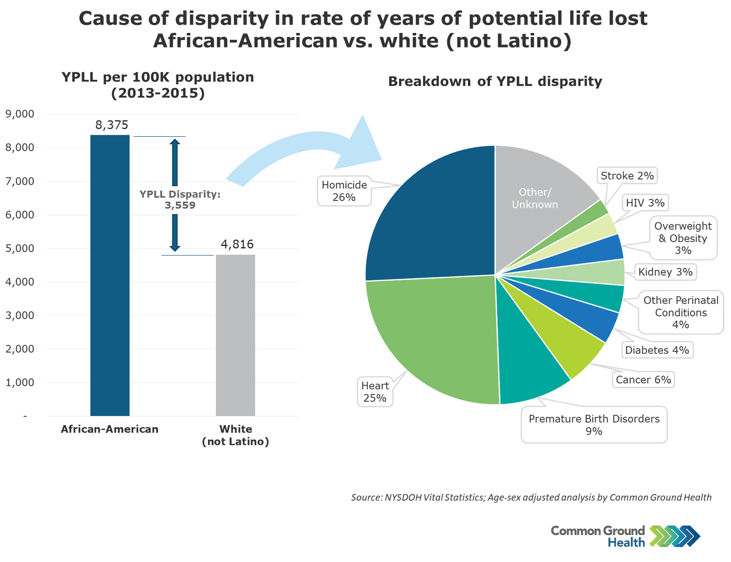 Cause of Disparity in Rate of Years of Potential Life Lost African-American vs White (not Latino)