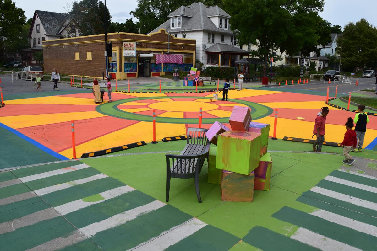 Neighborhood intersection gets an extreme makeover