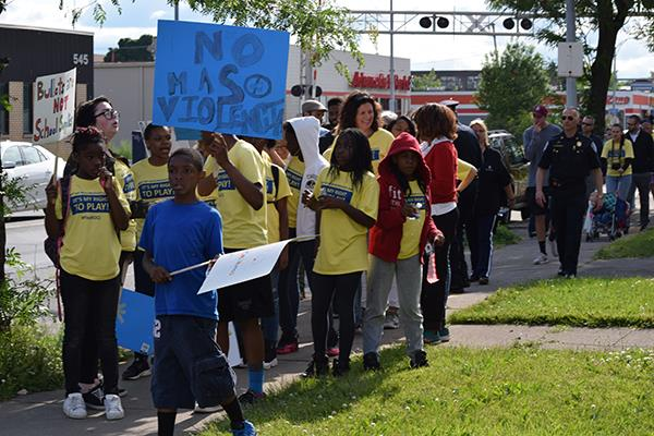Kids walk for the right to play in a safe neighborhood