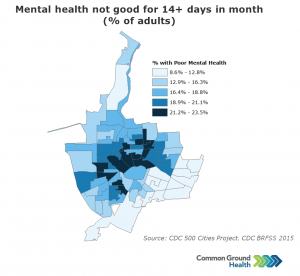 Mental Health Not Good for 14+ Days in Month, Adults