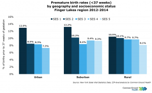 Premature Birth Rates (<37 weeks) by Geography and Socioeconomic Status