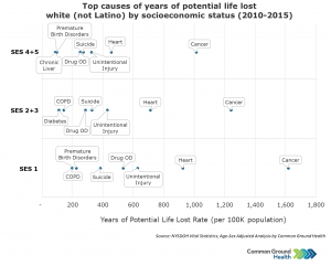 Top Causes of Years of Potential Life Lost - White (not Latino) by Socioeconomic Status