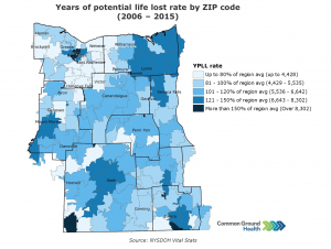 Years of Potential Life Lost Rate by ZIP Code