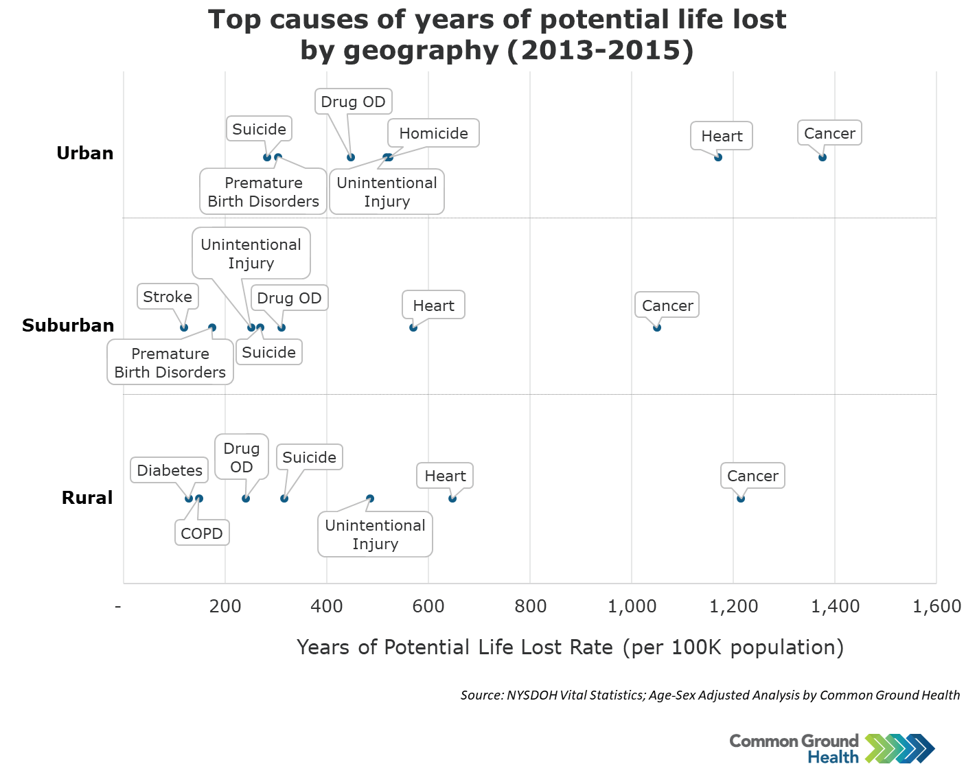 Top Causes of Years of Potential Life Lost by Geography