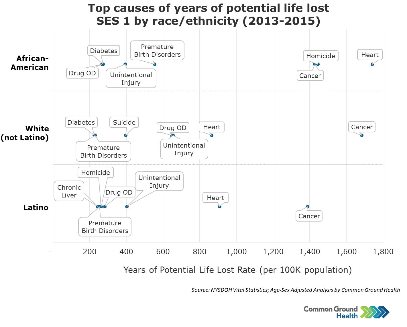 Top Causes of Years of Potential Life Lost SES 1 by Race/Ethnicity