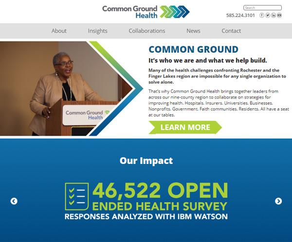 Home page of the website of Common Ground
