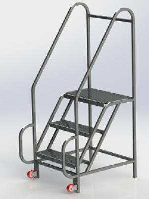 Stainless Steel Tilt & Roll Clean Room Ladder