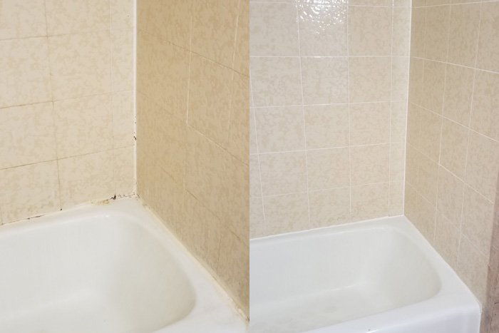 Before & After Shower Re-grouting Picture in Rochester NY