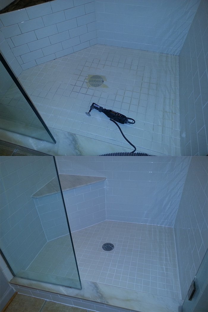 Shower Tile Regrouted
