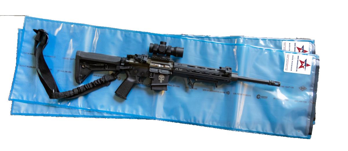 Green and Black AR15 on blue API anti corrosion gun storage bag