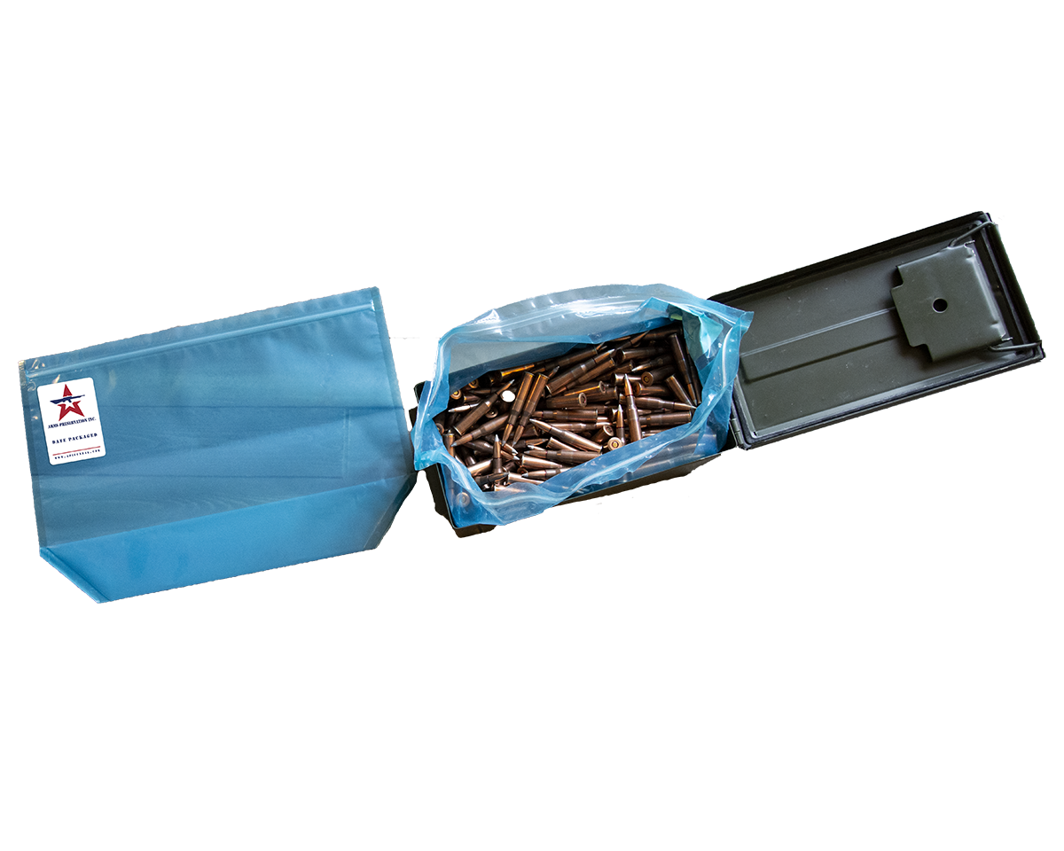 Blue API .50 cal ammo can liner and green ammo container filled with ammo inside blue API .50 cal ammo can liner