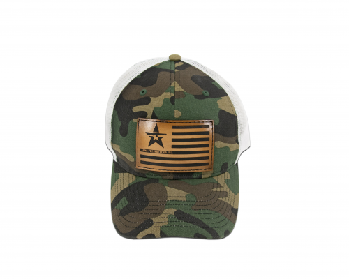 Camo trucker hat with white mesh back and leather API logo on American flag