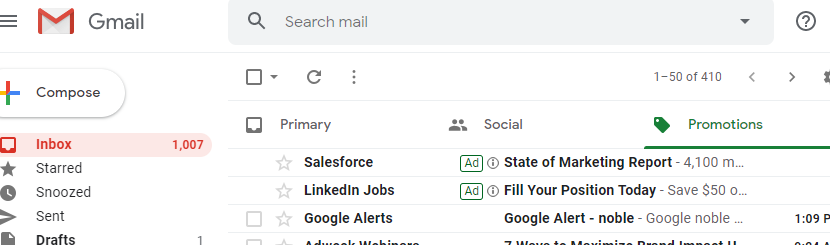 Gmail ads example