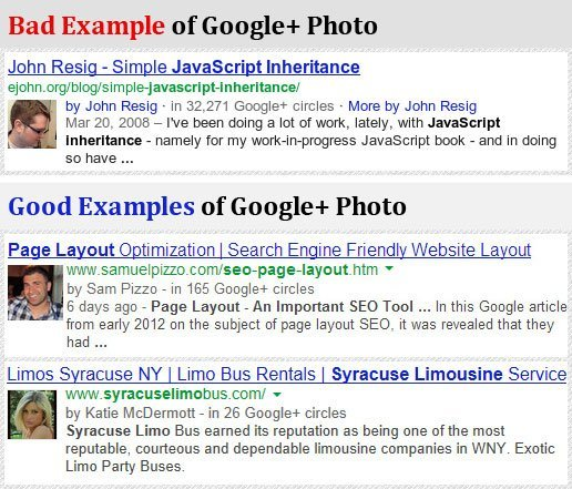 Examples of Good and Bad Google Author photos