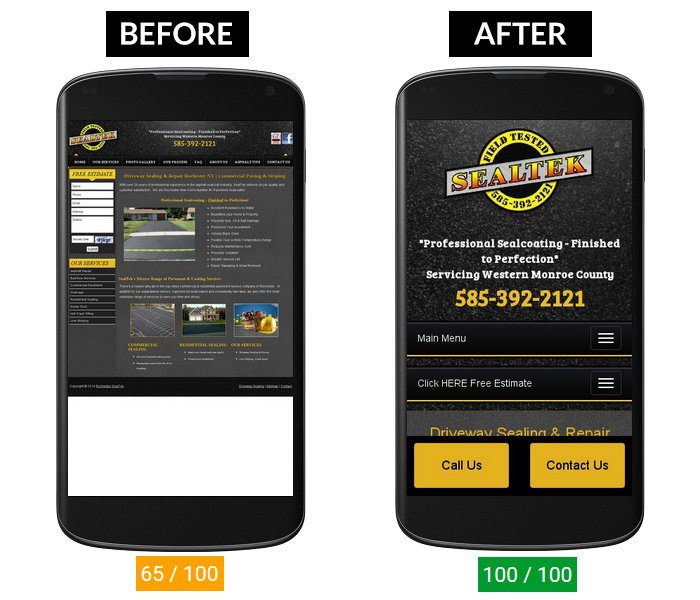 Before & After Website Page Speed Score on Mobile