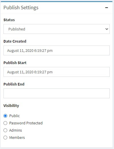 Publish Settings on a blog page