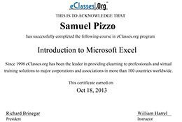 Introduction to Microsoft Excel Certification