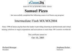 Sam Pizzo Intermediate Flash MX/MX2004 Certificate