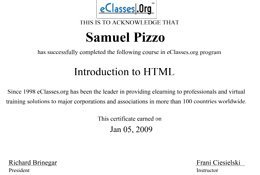 Sam Pizzo Introduction to HTML Certificate