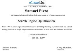 Sam Pizzo Search Engine Optimization Certificate
