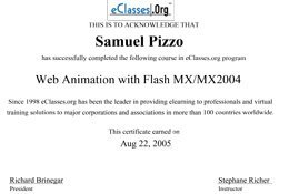Sam Pizzo Web Animation with Flash MX/MX2004 Certificate