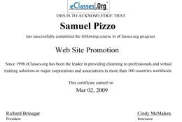 Sam Pizzo Web Site Promotion Certificate