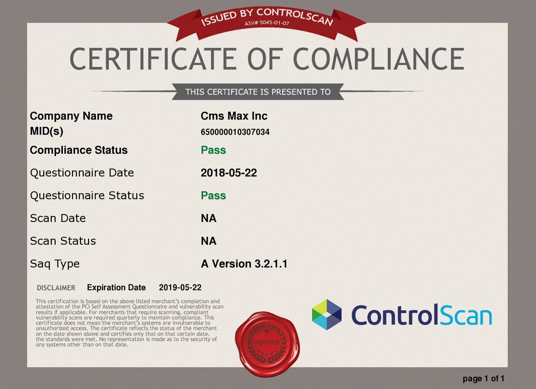 ControlScan Certificate of Compliance