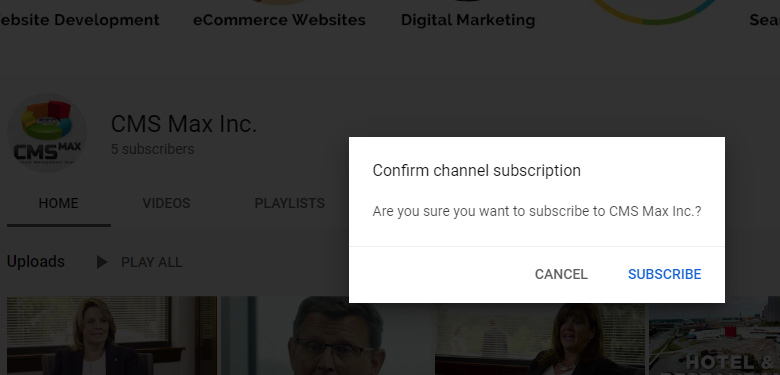 YouTube confirm subscribe popup