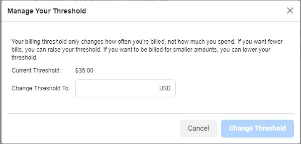 Change your Facebook billing threshold