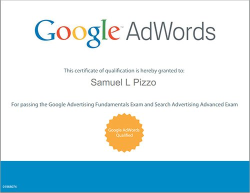 Sam Pizzo Google AdWords Certified