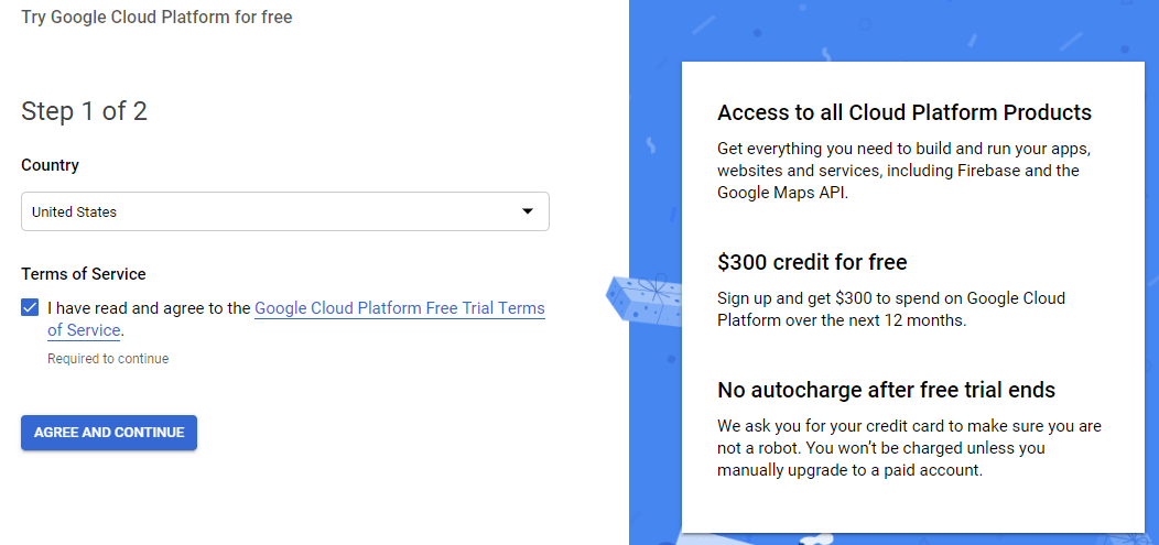 Google Cloud Signup