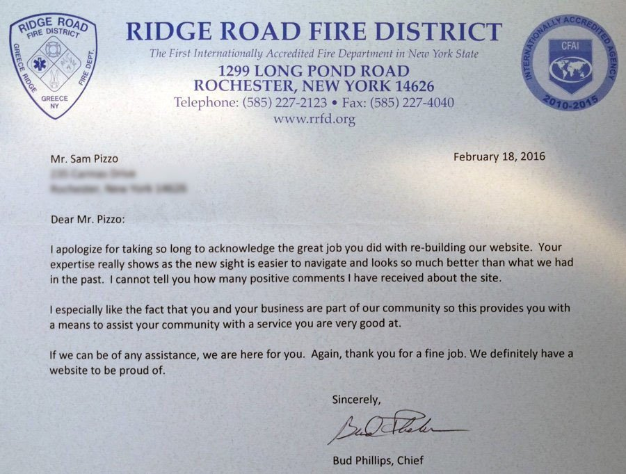 Ridge Road Fire District Website Thank You letter