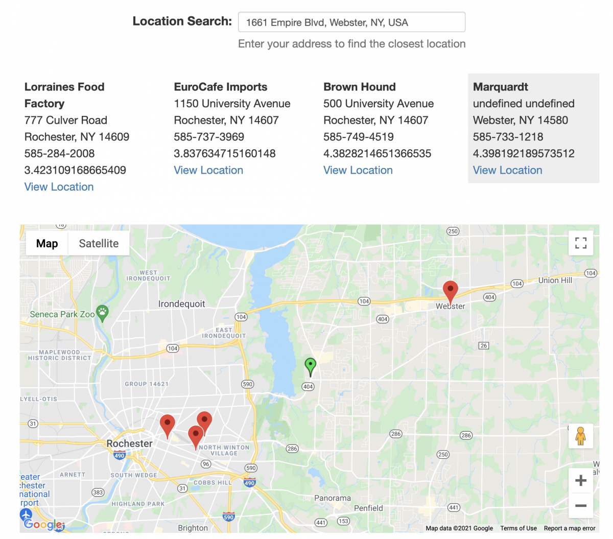 Location finder shortcode example