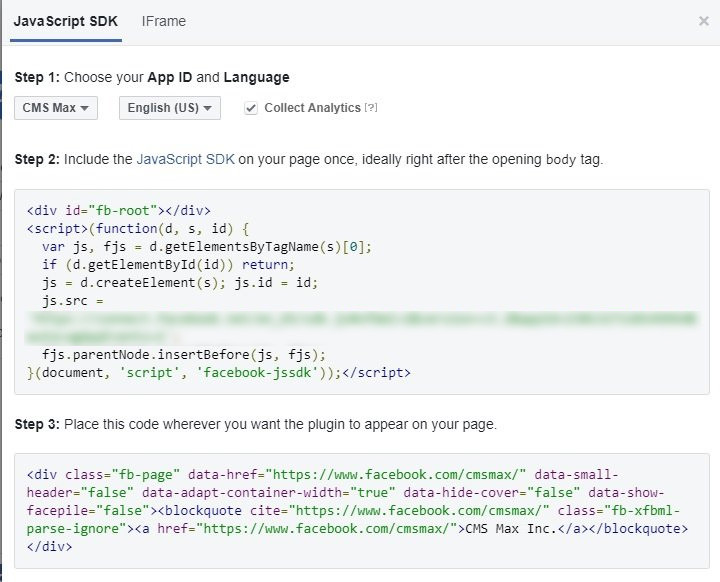 How to embed Facebook Page Plugin code   CMS Max