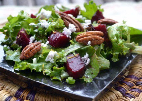 Spring Greens with Roasted Beets, Toasted Pecans & Feta
