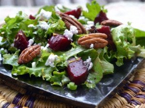 Spring Greens with Roasted Beets, Toasted Pecans & Feta Recipe