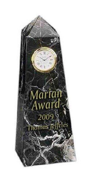 Black Marble Obelisk with Clock