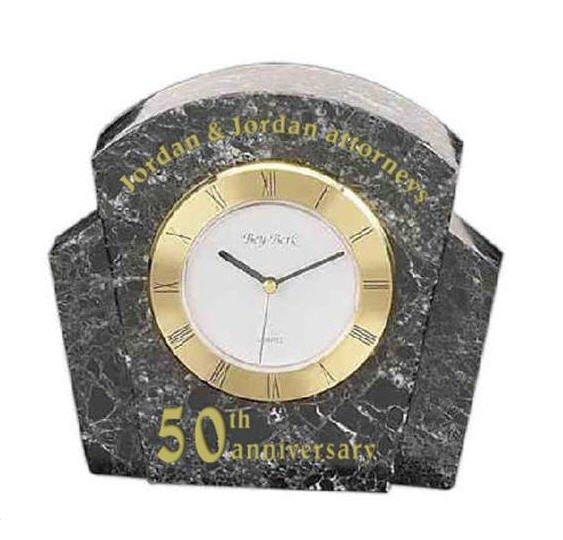 Black Marble Desk Clock
