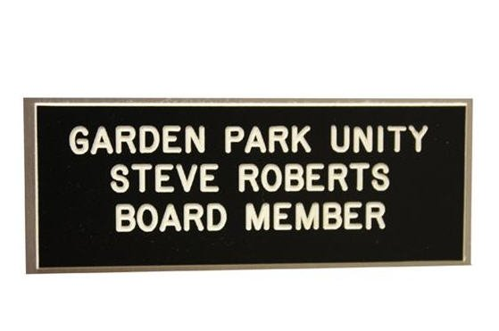 Name Tags Black on White With Square Corners