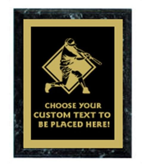 Baseball Black Marble Plaque