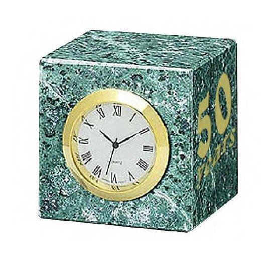 Green Marble Cube Clock