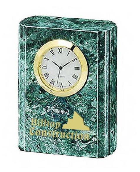 Green Marble Petite Column Clock