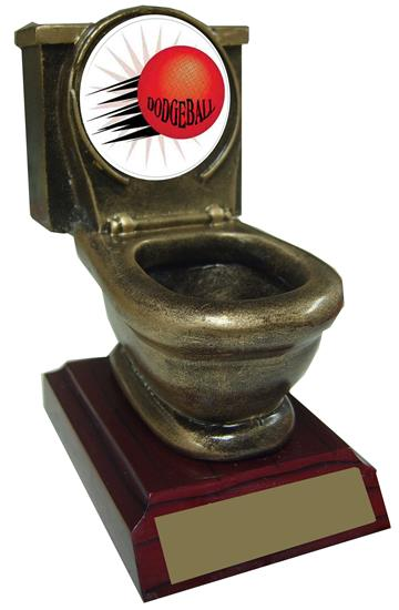 Resin Dodgeball Toilet Trophy